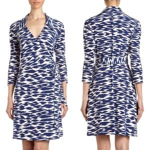 Laundry by Design Blue Printed Wrap Dress